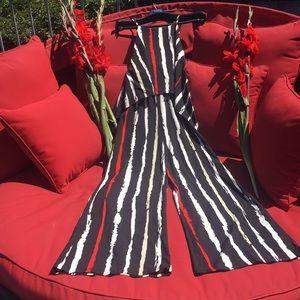 NWOT Art Basel Striped Wide Leg Pantsuit Small